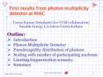 first results from photon multiplicity detector at rhic