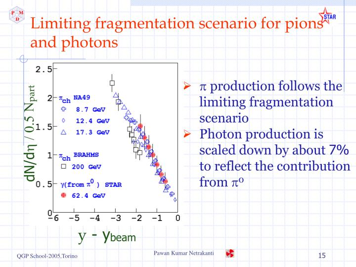 Limiting fragmentation scenario for pions and photons