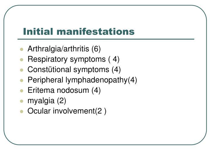 Initial manifestations