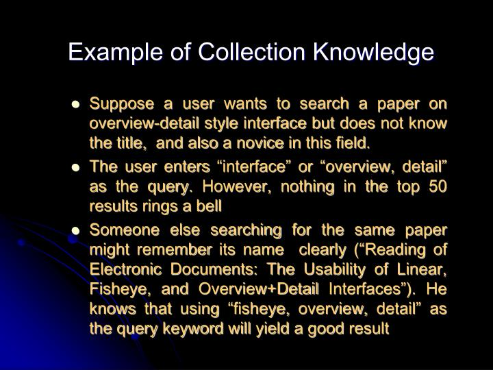 Example of Collection Knowledge