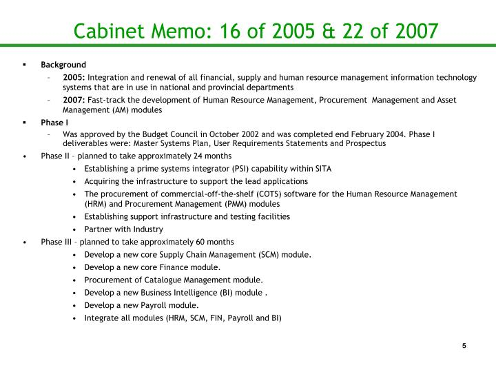 Cabinet Memo: 16 of 2005 & 22 of 2007