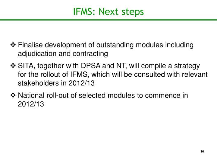 IFMS: Next steps