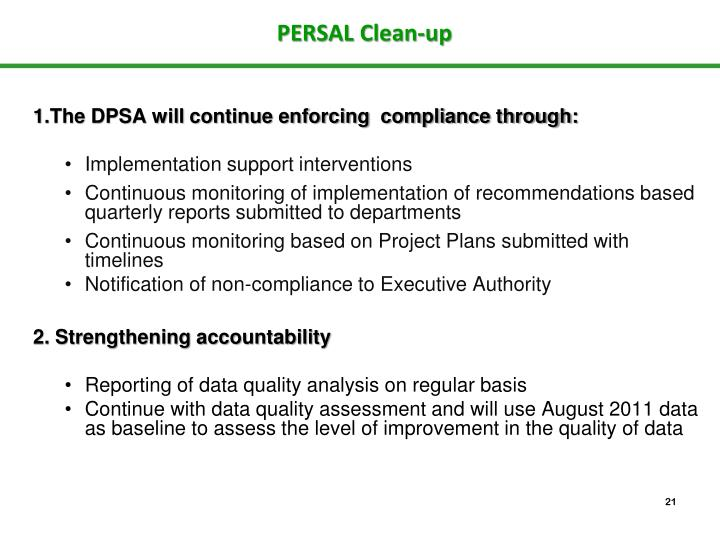 PERSAL Clean-up
