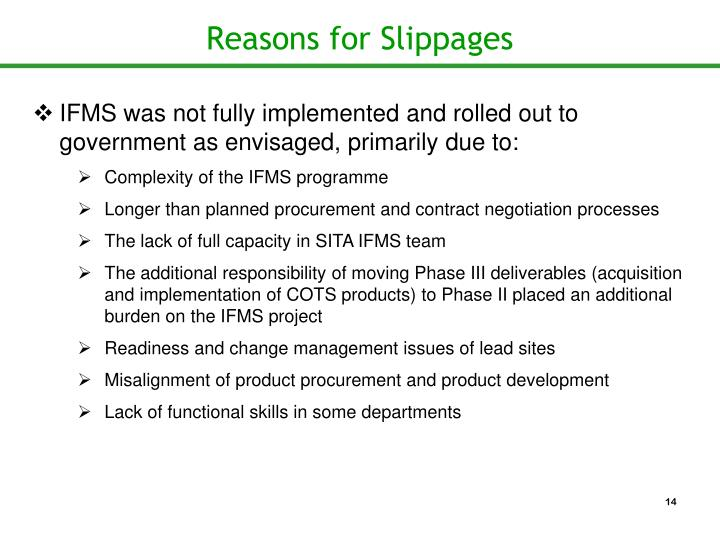 Reasons for Slippages