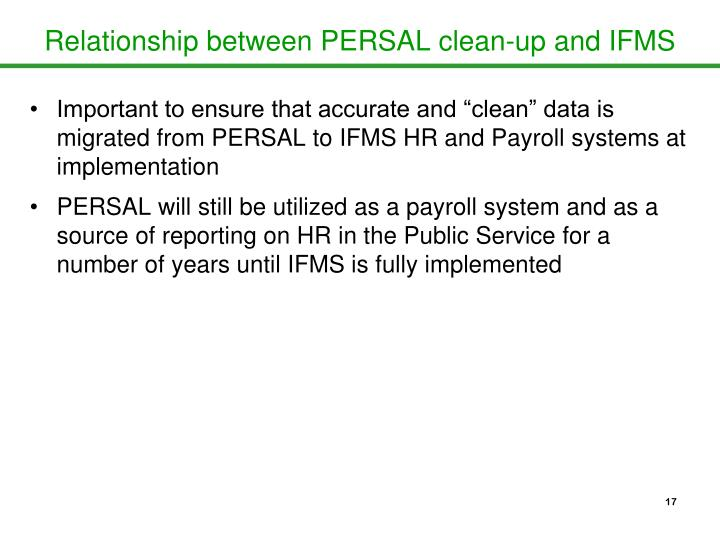 Relationship between PERSAL clean-up and IFMS