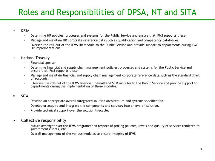 Roles and Responsibilities of DPSA, NT and SITA