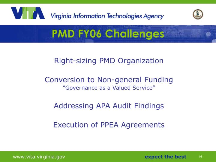 PMD FY06 Challenges