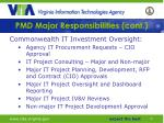 pmd major responsibilities cont