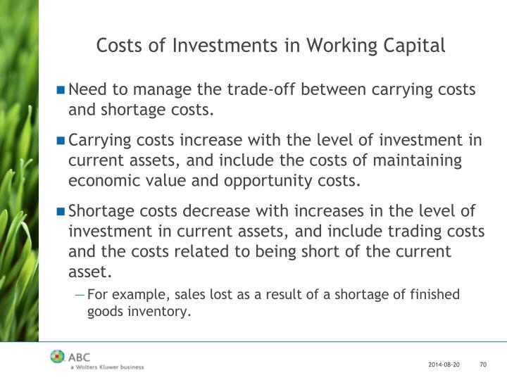 Costs of Investments in Working Capital