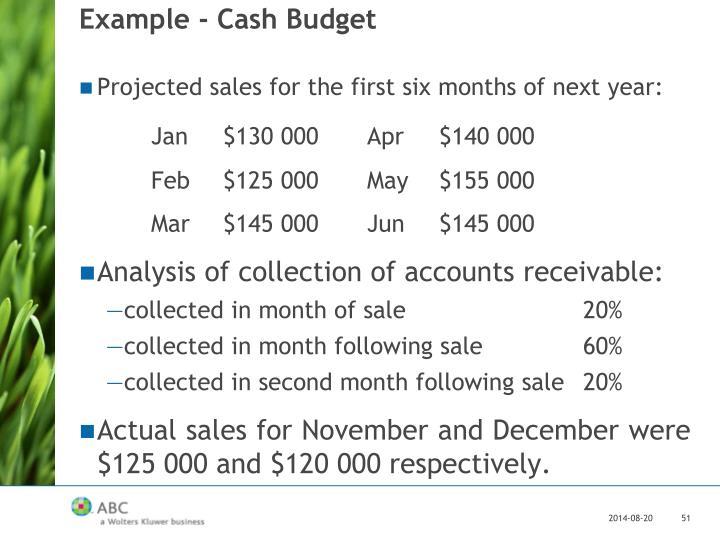 Example - Cash Budget