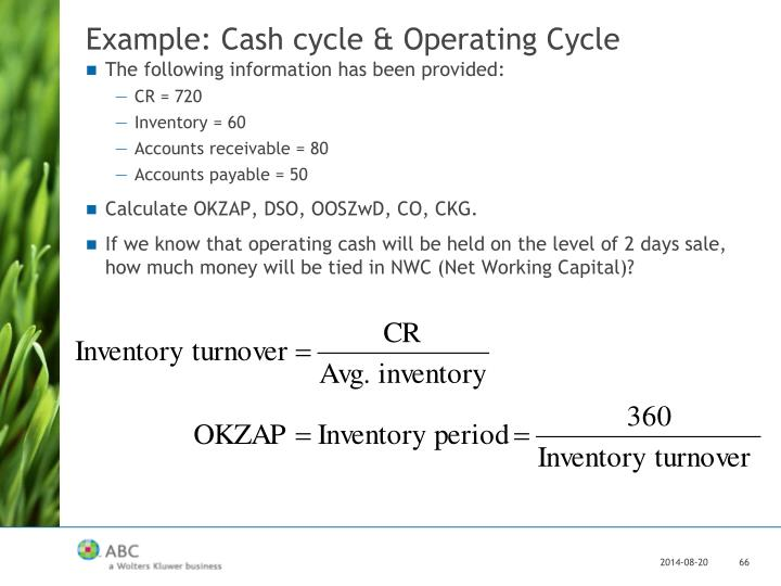 Example: Cash cycle & Operating Cycle