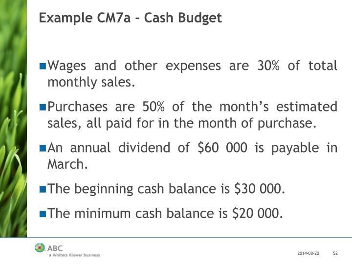 Example CM7a - Cash Budget