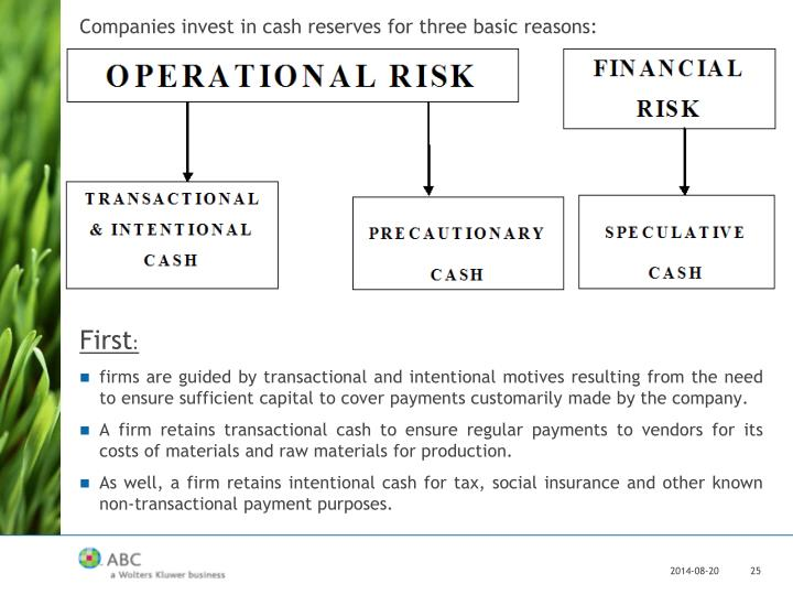 Companies invest in cash reserves for three basic reasons: