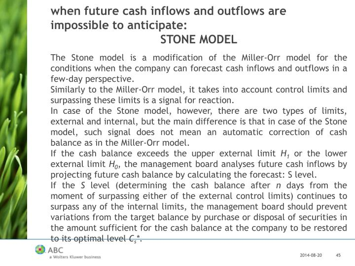 when future cash inflows and outflows are impossible to anticipate: