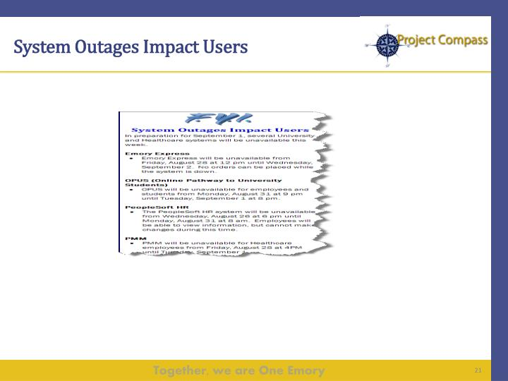 System Outages Impact Users