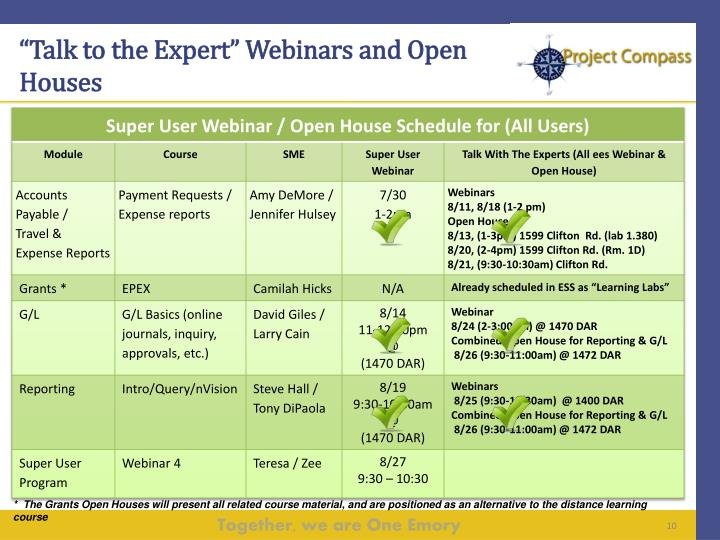 """""""Talk to the Expert"""" Webinars and Open Houses"""