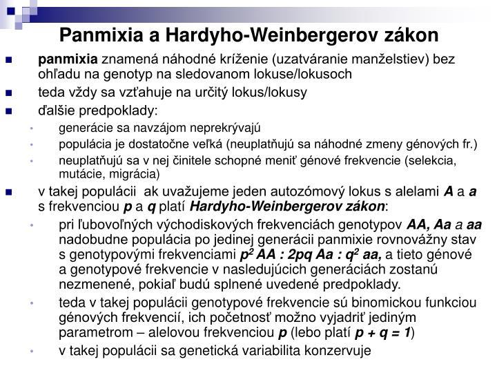 Panmixia a Hardyho-Weinbergerov zákon
