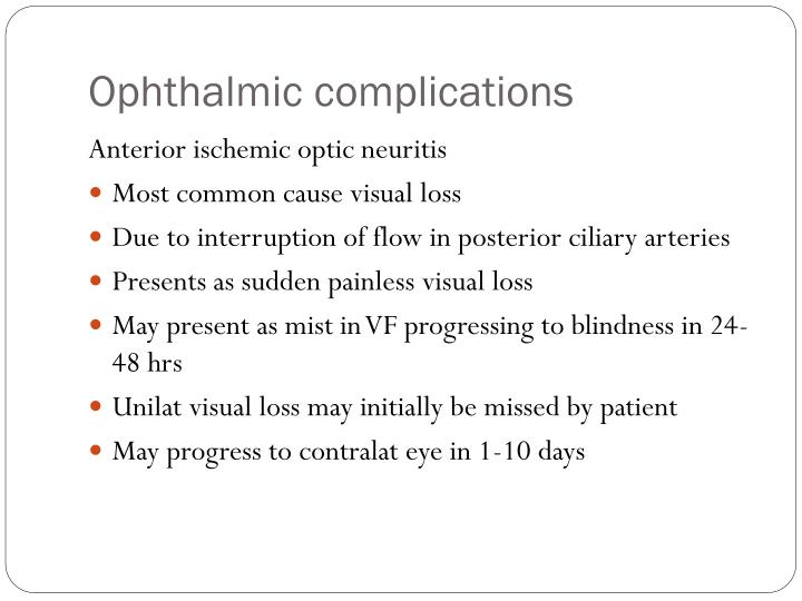 Ophthalmic complications