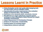 lessons learnt in practice