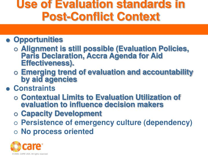 Use of Evaluation standards in Post-Conflict Context