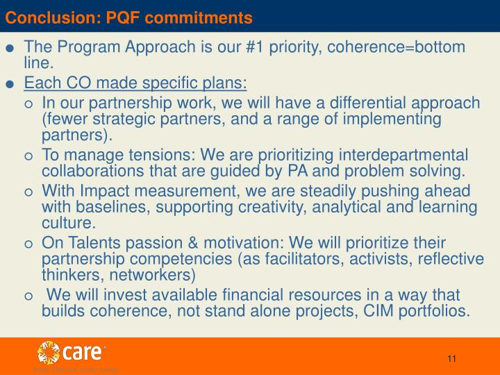 Conclusion: PQF commitments