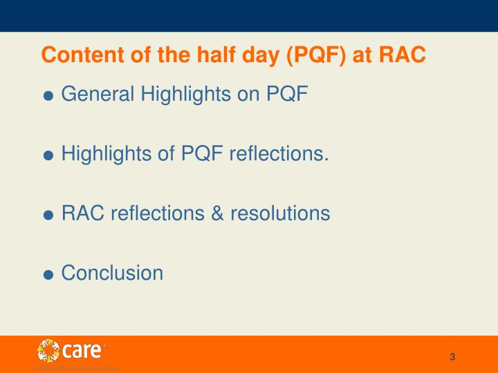 Content of the half day (PQF) at RAC