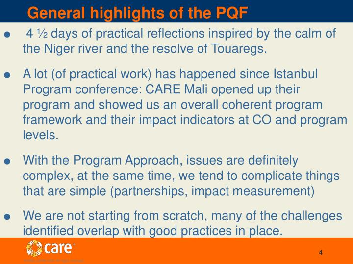 General highlights of the PQF