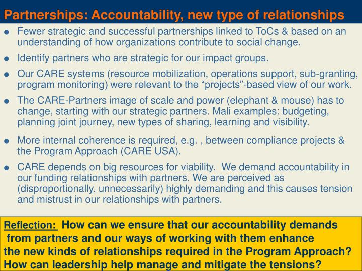 Partnerships: Accountability, new type of relationships