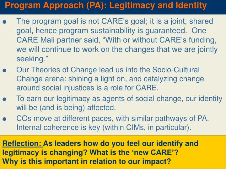 Program Approach (PA): Legitimacy and Identity
