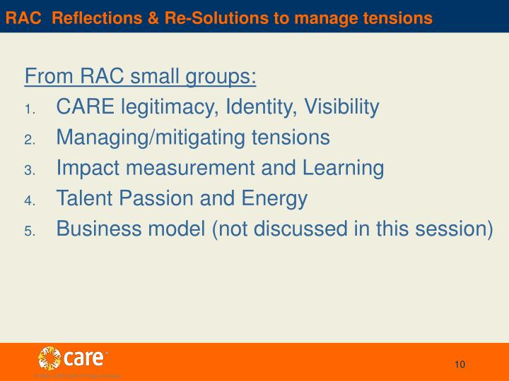 RAC  Reflections & Re-Solutions to manage tensions