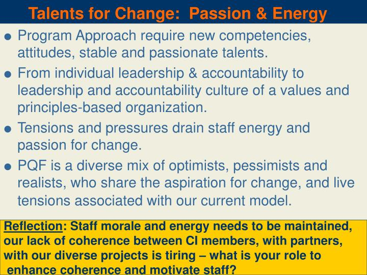 Talents for Change:  Passion & Energy