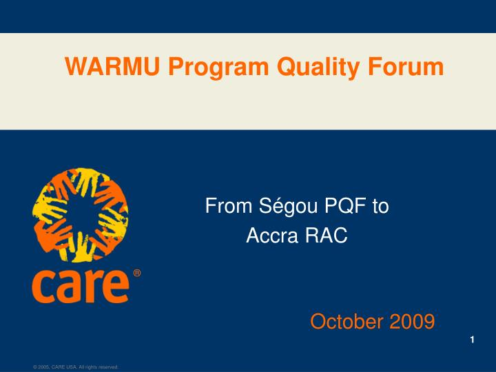 Warmu program quality forum