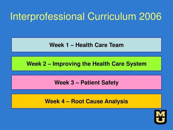Interprofessional Curriculum 2006