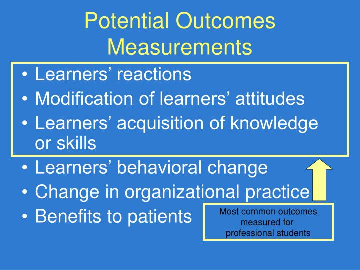 Potential Outcomes Measurements