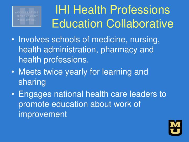 Involves schools of medicine, nursing, health administration, pharmacy and health professions.