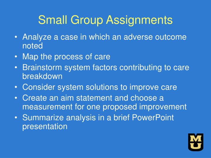 Small Group Assignments