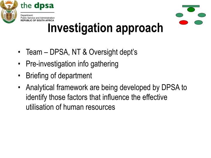 Investigation approach