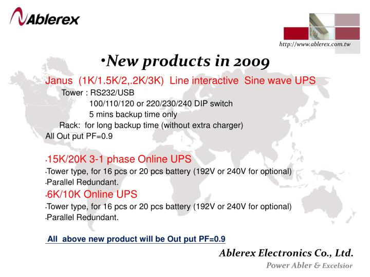 New products in 2009