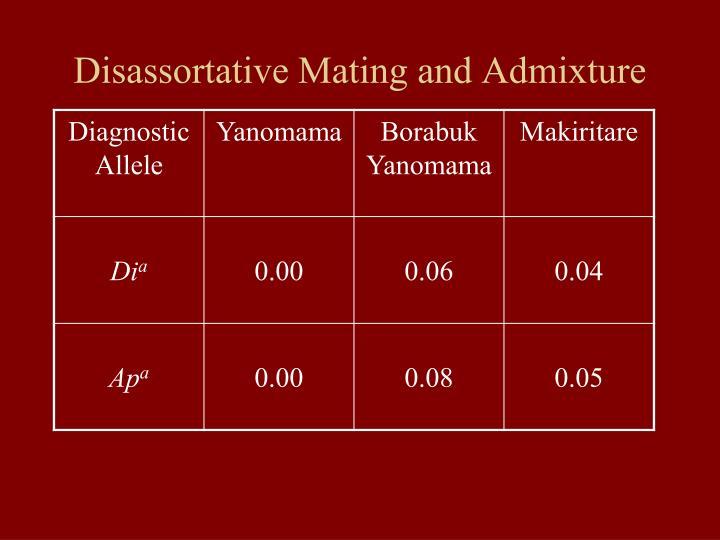 Disassortative Mating and Admixture