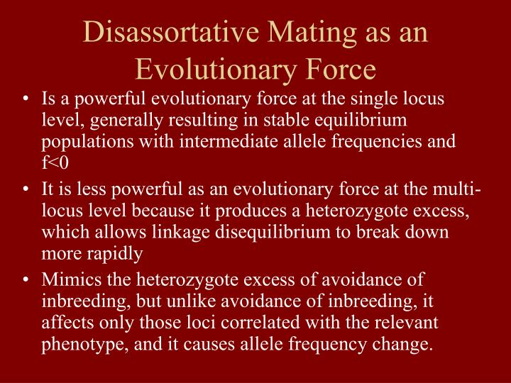 Disassortative Mating as an Evolutionary Force