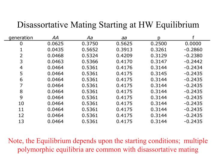 Disassortative Mating Starting at HW Equilibrium