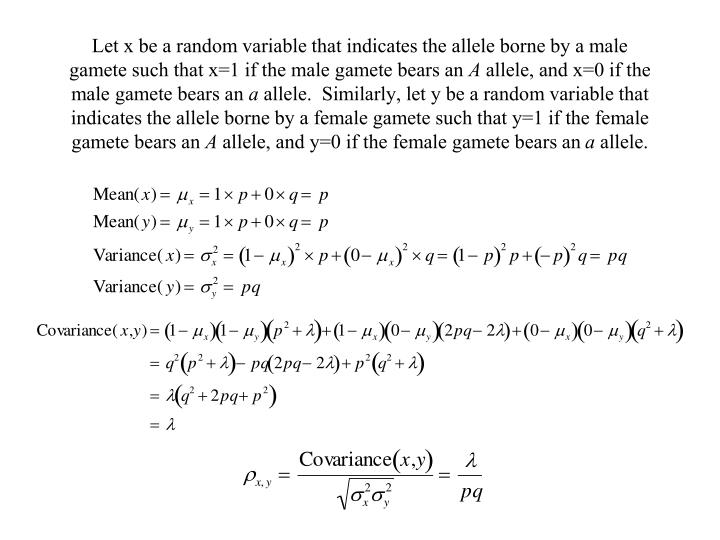 Let x be a random variable that indicates the allele borne by a male gamete such that x=1 if the male gamete bears an