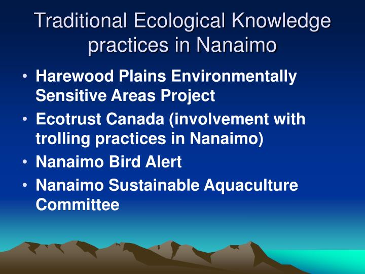 Traditional Ecological Knowledge practices in Nanaimo