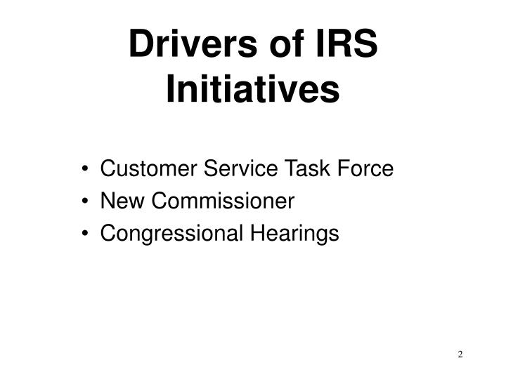 Drivers of irs initiatives