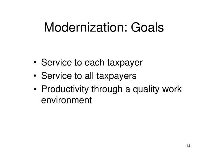 Modernization: Goals