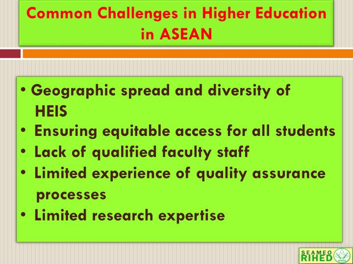 Common Challenges in Higher Education in ASEAN