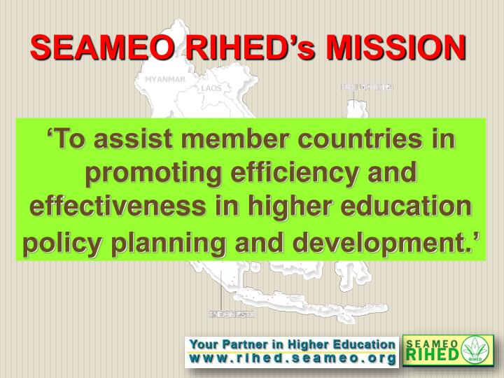 SEAMEO RIHED's MISSION