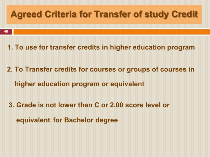 Agreed Criteria for Transfer of study Credit