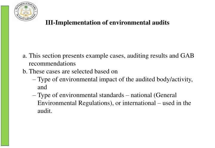 III-Implementation of environmental audits