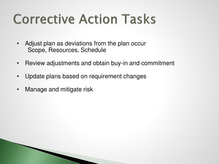 Corrective Action Tasks